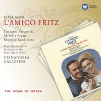 "Mirella Freni/Luciano Pavarotti/Laura Didier Gambardella/Vicente Sardinero/Benito di Bella/Luigi Pontiggia/Orchestra of the Royal Opera House, Covent Garden/Gianandrea Gavazzeni L'amico Fritz, Act 1 Scene 3: ""Chi mai sarà?"" (Hanezò, Fritz, David, Federico, Suzel, Beppe)"