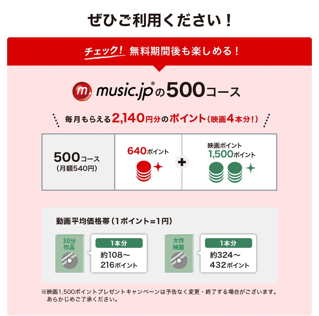ぜひご利用ください!チェック!無料期間後も楽しめる!music.jpの使い方500コース毎月もらえる2,140円分のポイント
